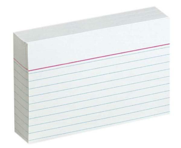 Fiches bristol - DIN A7, à lignes, blanc