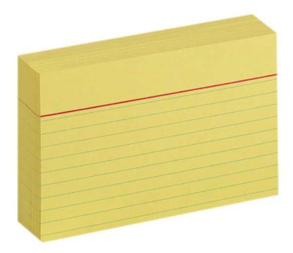 Fiches bristol - DIN A7, à lignes, jaune