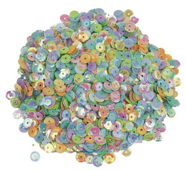 Pailletten Mix - 30 g, Ø 6 mm, Mix pastell