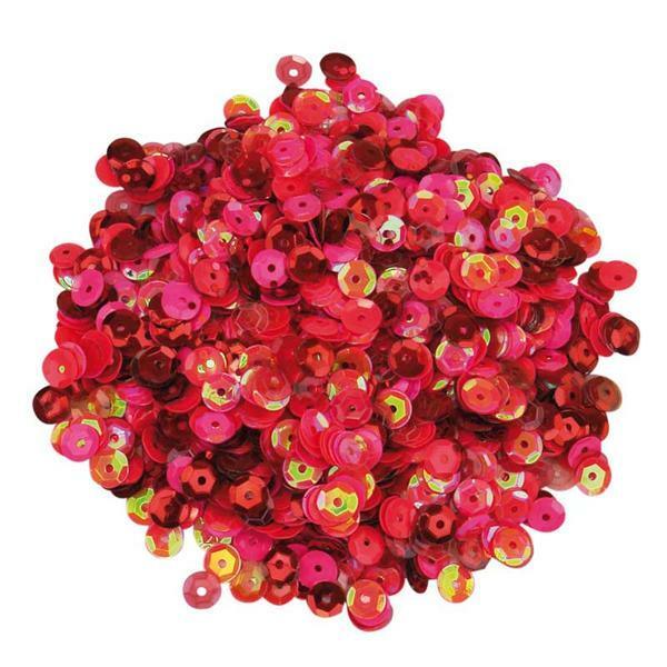 Pailletten mix - 30 g, Ø 6 mm, rood