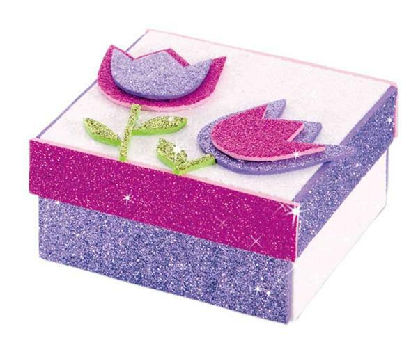 Schuimrubber (foam) - glitter, 5 stuks, gekleurd