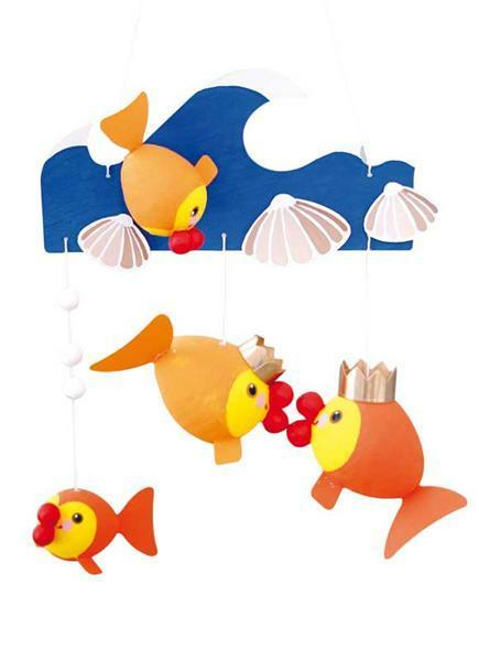 Set boules en ouate, poissons rouges