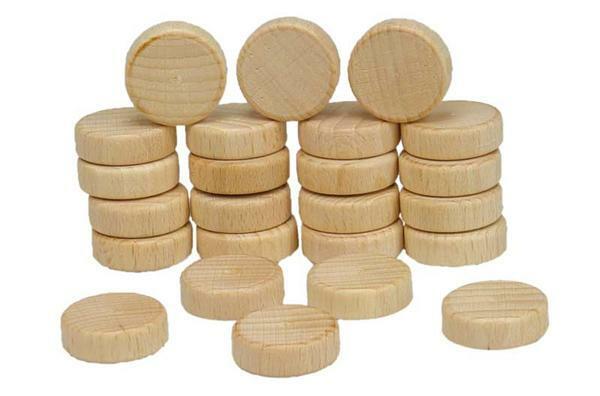 Roues en bois, sans perforation - 24 pces, Ø 25 mm