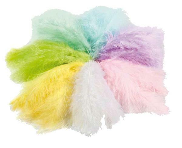 Flauschfedern - 100 g, pastell