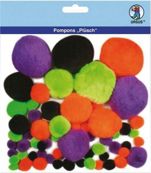 Pompons pluche - 60 stuks, bont gemengd