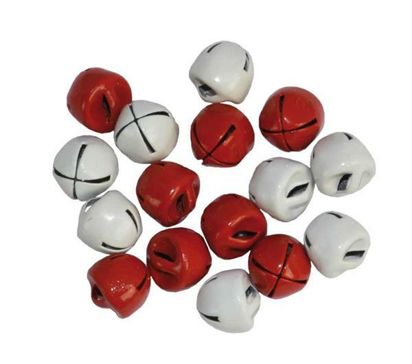 Grelots - 16 pces, Ø 8 mm, rouge et blanc