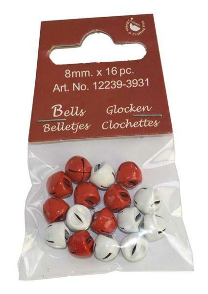 Bellen - 16 st./pak, Ø 8 mm, rood en wit