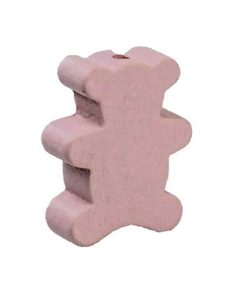 Perle à motif - ours, rose