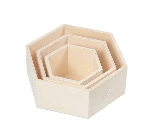 Holzboxen in Wabenform, 3er Set