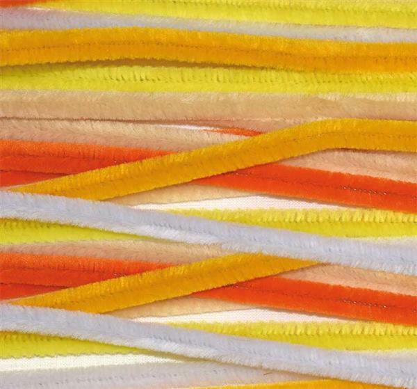 Chenilledraad mix - 10 st., 50 cm, geel