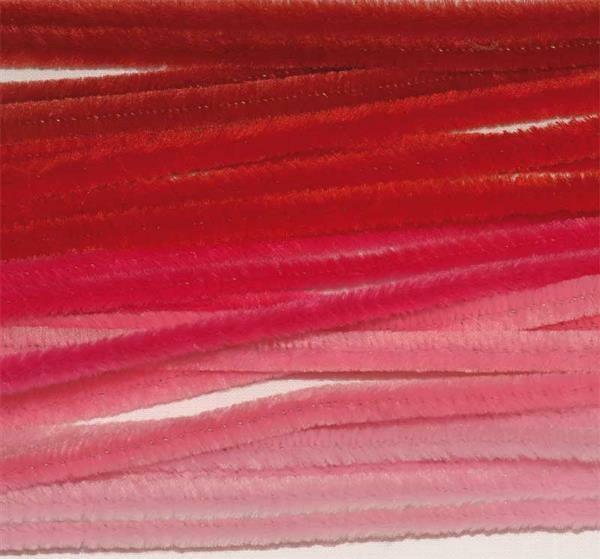 Chenilledraad mix - 10 st., 50 cm, rood