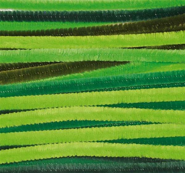 Chenilledraad mix - 10 st., 50 cm, groen