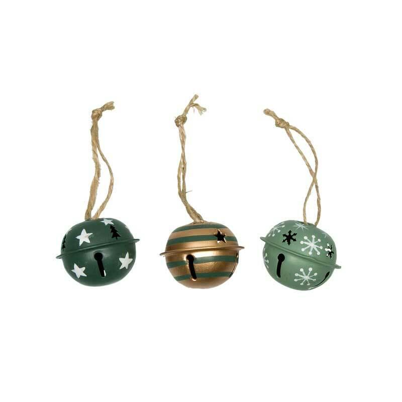 Grelots à motifs - 3 pces, Ø 40 mm, vert-or