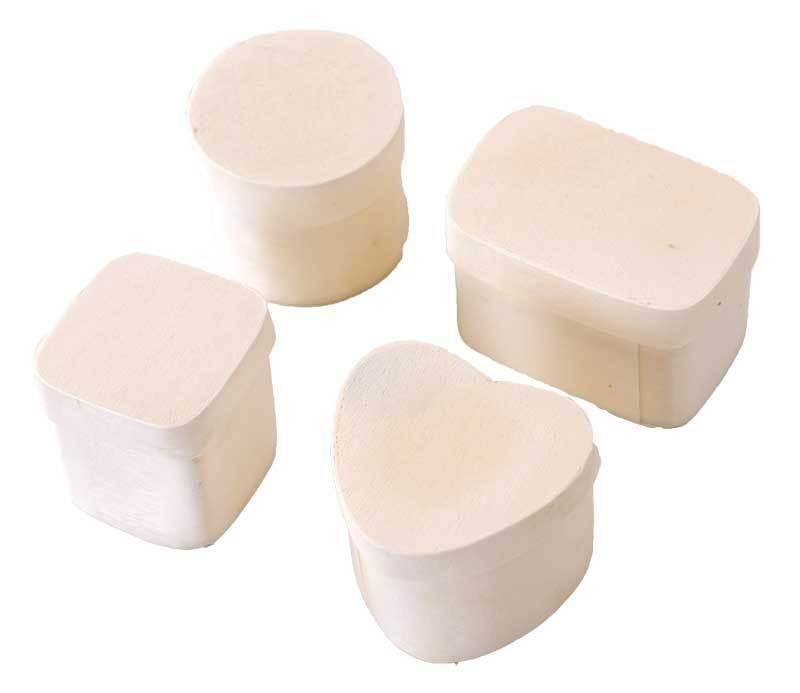 Set boîtes copeaux - 4 pces, rond, oval, carré, c