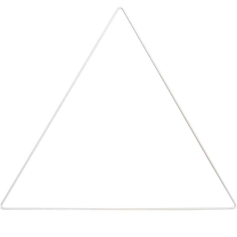Metalen driehoek wit gecoat, 30 cm