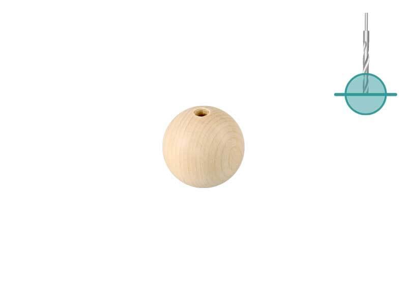 Houten ballen - 25 st., half gat 4 mm, Ø 15 mm