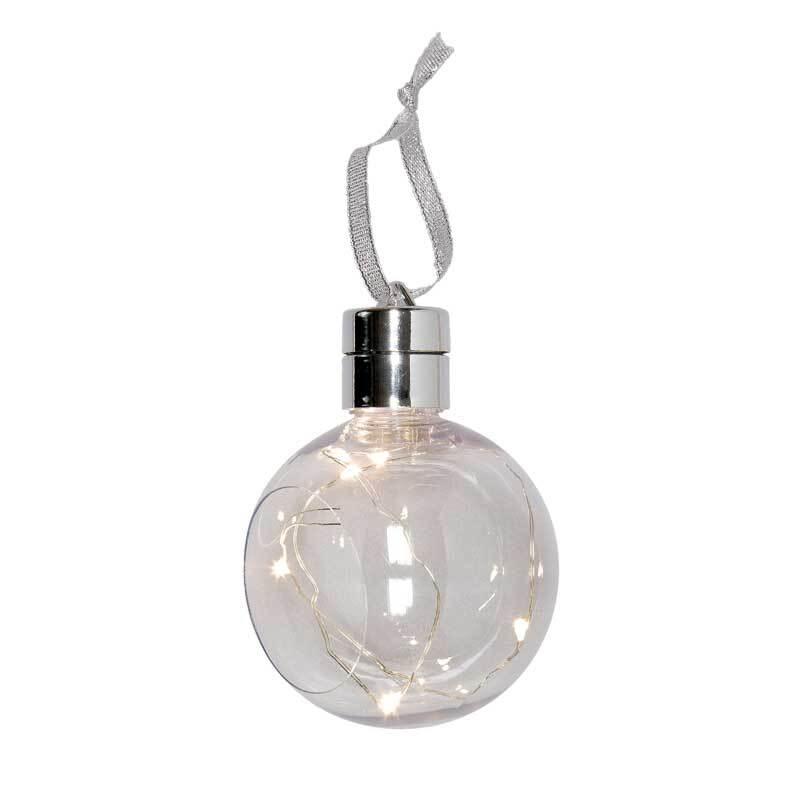 Kunststoff Kugel mit LED-Lichterkette, Ø 80 mm