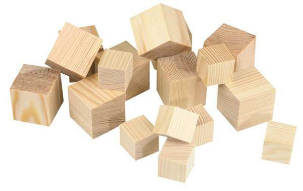 Houten blokjes groot - 50 st/pak, 30 x 30 mm