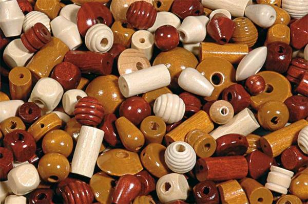 Holzperlen Formen - 250 g, natur