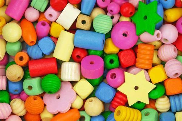 Perles en bois - 250 g, pastel