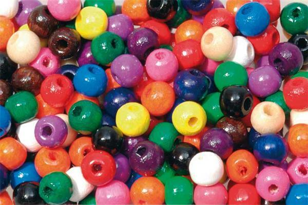 Perles en bois multicolores - 250 pces, Ø 5 mm