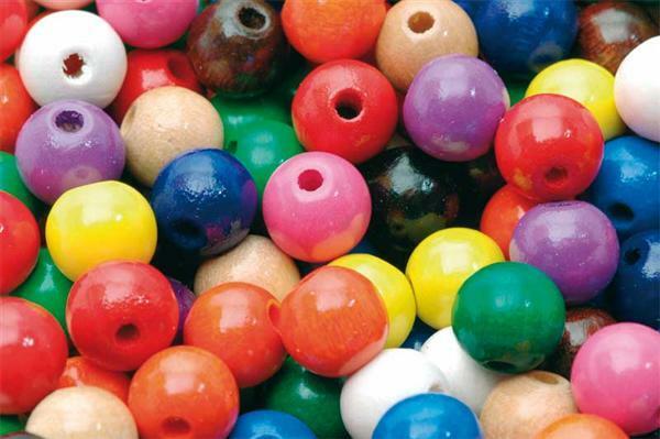 Houten kralen bont gekleurd - 150 st., Ø 10 mm