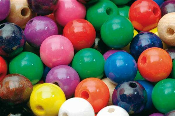 Perles en bois multicolores - 100 pces, Ø 12 mm