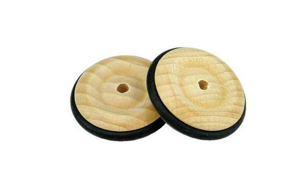 Holzrad mit Gummireifen - Bohr. 4 mm, Ø 33 mm