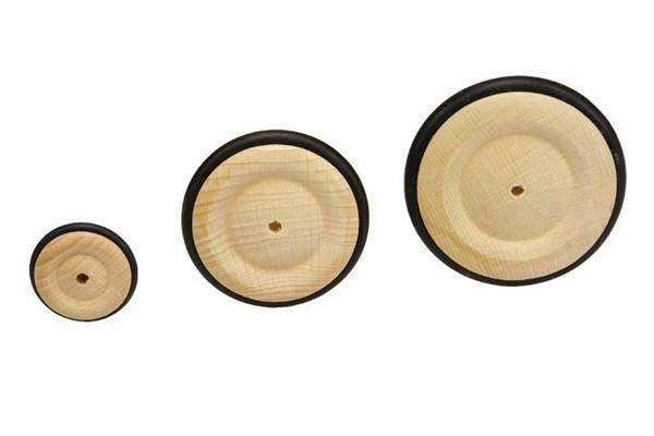 Roues en bois pneu caoutchouc - trou 4 mm, Ø 33 mm