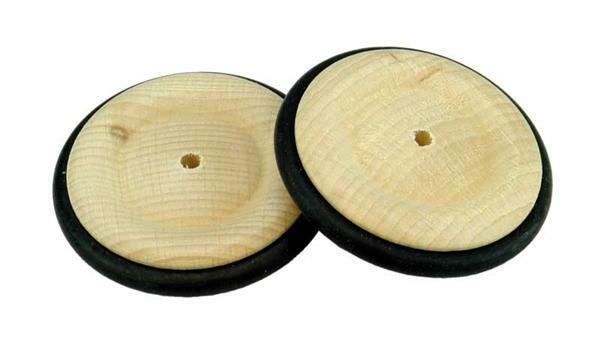 Roues en bois pneu caoutchouc - trou 4 mm, Ø 53 mm