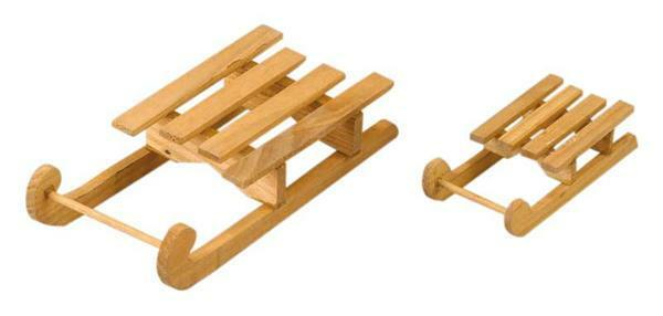 Holzschlitten, ca. 80 x 40 mm