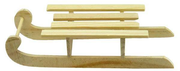 Luge en bois, env. 140 x 60 mm