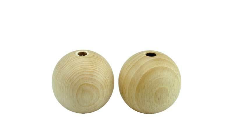 Boules en bois - 50 pces, percées 4 mm, Ø 15 mm