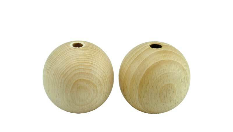 Boules en bois - 25 pces, percées 6 mm, Ø 25 mm