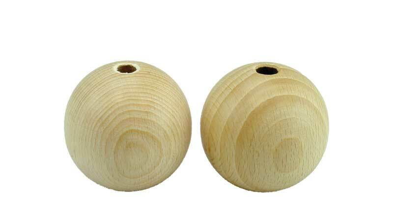 Boules en bois - 25 pces, percées 6 mm, Ø 30 mm