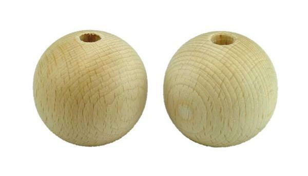 Houten ballen - Ø 40 mm, boorgat  8 mm, 10 st.