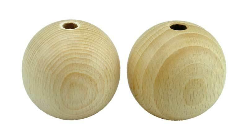 Boules en bois - 10 pces, percées 8 mm, Ø 50 mm