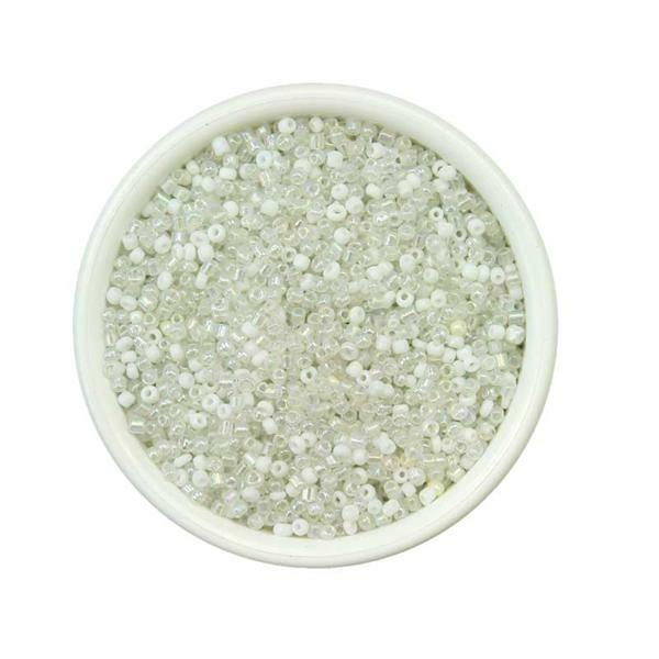 Rocailles Ø 1,5 - 2,6 mm, 100 g, witte tinten