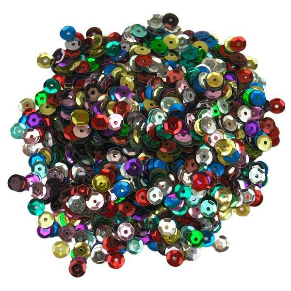 Sequins mélange -30 g, Ø 6 mm, multicolore