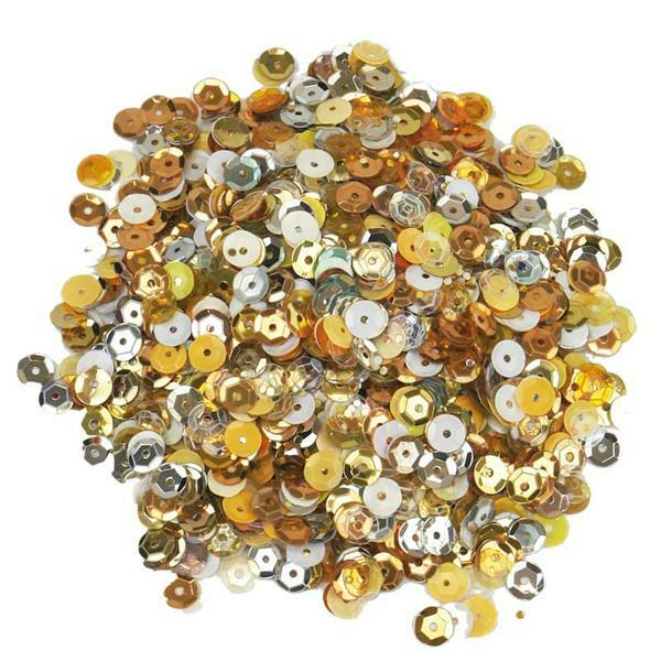 Pailletten mix - 30 g, Ø 6 mm, goud-zilver-wit