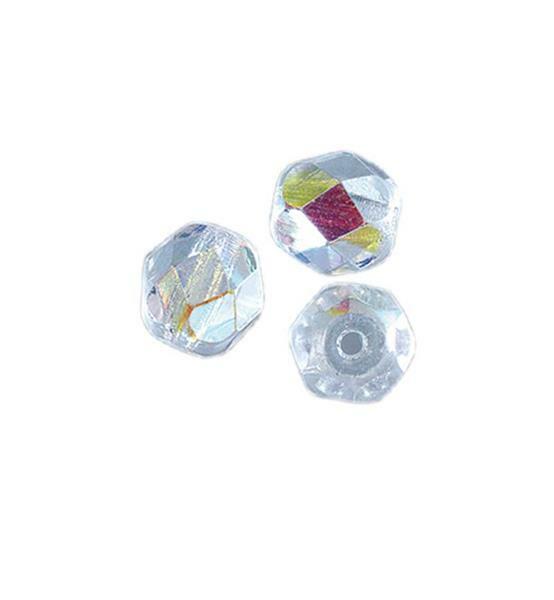 Geslepen glaskralen - Ø 4 mm, kristal