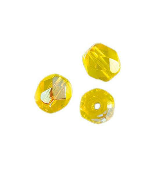 Geslepen glaskralen - Ø 4 mm, geel