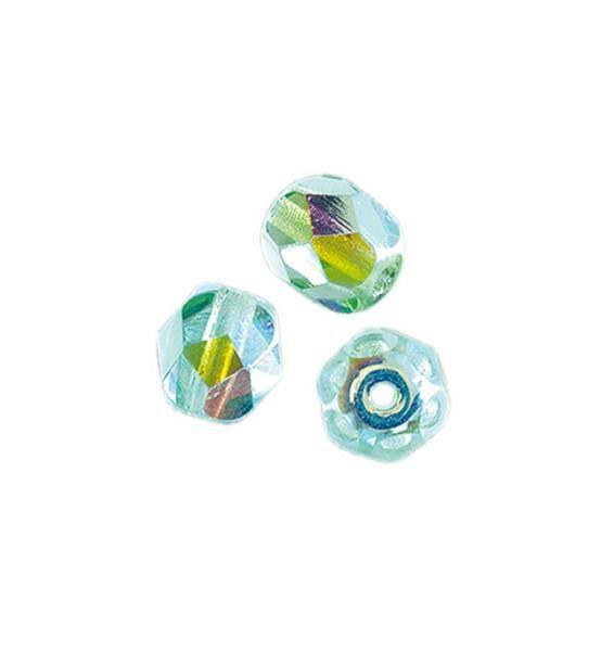 Geslepen glaskralen - Ø 4 mm, lichtgroen