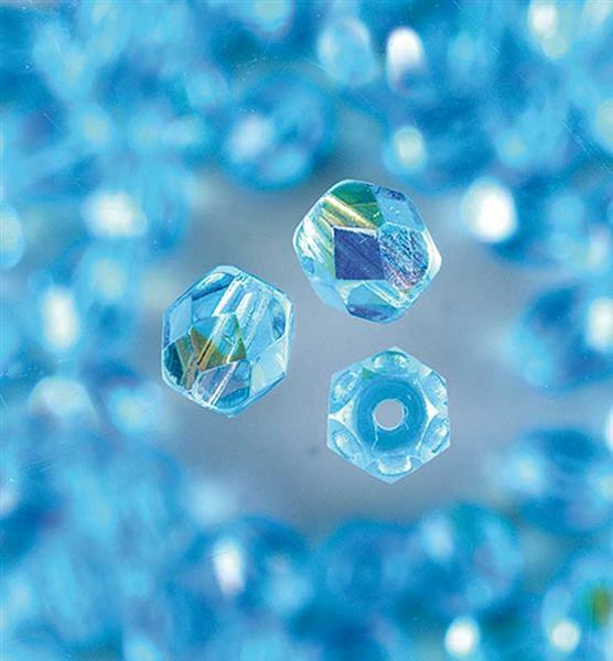 Geslepen glaskralen - Ø 4 mm, aqua