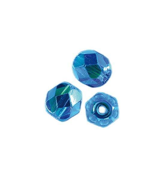 Geslepen glaskralen - Ø 4 mm, donker aqua