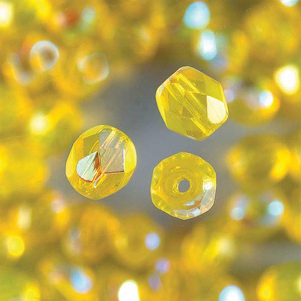 Geslepen glaskralen - Ø 6 mm, geel