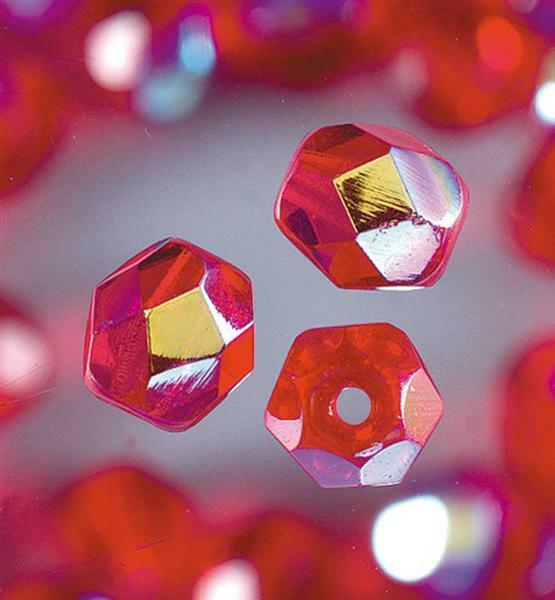 Geslepen glaskralen - Ø 6 mm, rood