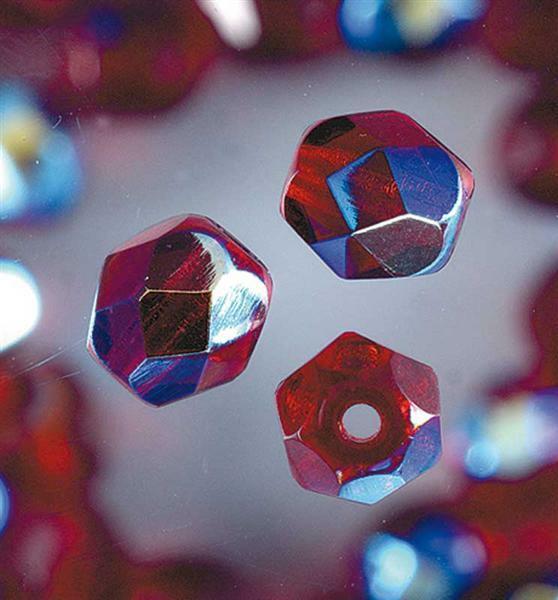 Geslepen glaskralen - Ø 6 mm, granaat