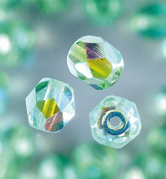 Geslepen glaskralen - Ø 6 mm, lichtgroen