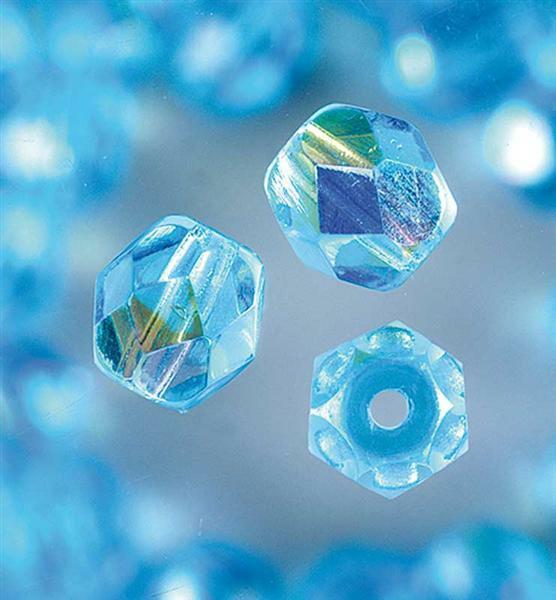Perles de verre polies Ø 6 mm, aqua